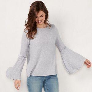 NWT soft ruffle bell sleeve sweater